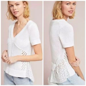 Feather Bone Eyelet Back White Knitted Pullover